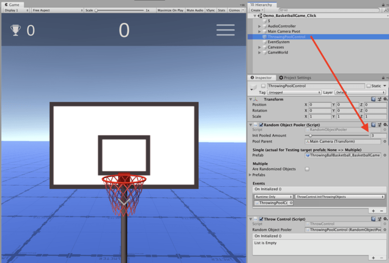 Basketball Game — Unity Asset — Balls Count