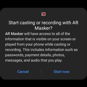 AR Masker — Video Recording — Permission Request — Allow Screen Recording — Android